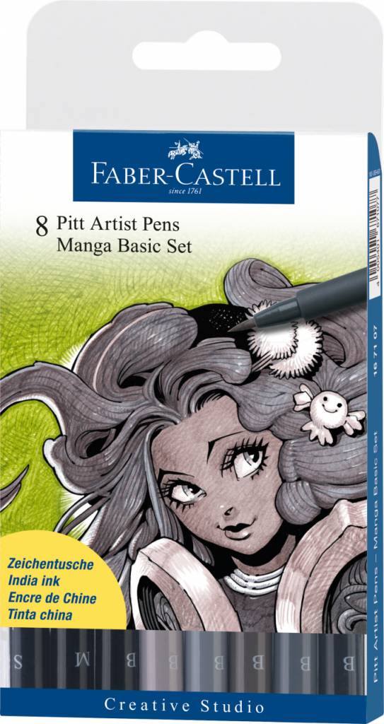FABER CASTELL PITT ARTIST PEN SET/8 MANGA