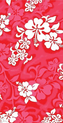 "Wet Products RED HIBISCUS BEACH TOWEL 27"" x 58"""