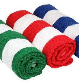 "GREEN CABANA STRIPE TOWEL 30"" x 60"""