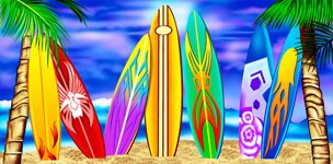 "SURFBOARDS BEACH TOWEL PLUSH VELOUR 30"" x 60"""