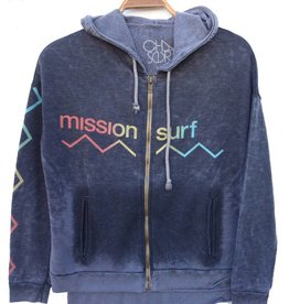 MISSION SURF WAVE BURNOUT ZIP HOODIE W's