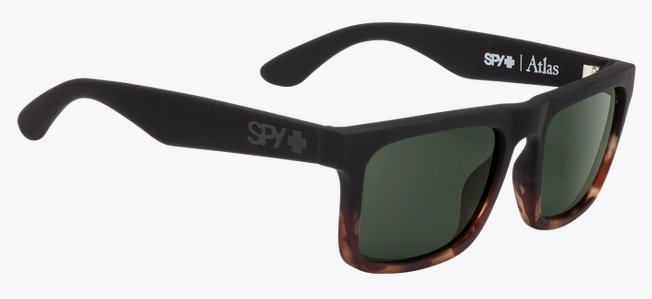 Spy Optic SPY ATLAS SOFT MATTE BLACK / TORT FADE HAPPY GREY GREEN