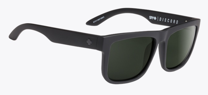 Spy Optic SPY DISCORD SOFT MATTE BLACK POLARIZED HAPPY GREY GREEN