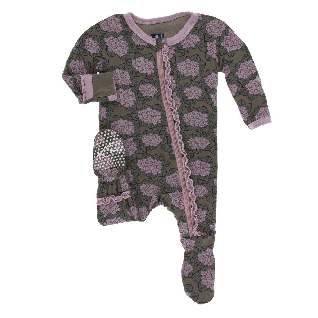 Kickee Pants Kickee Pants Kenya Muffin Ruffle Footie w/ zipper