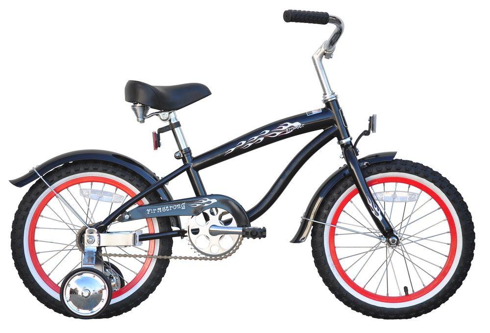 "Firmstrong Bruiser Mini 16"", red rims, Kids', Black"