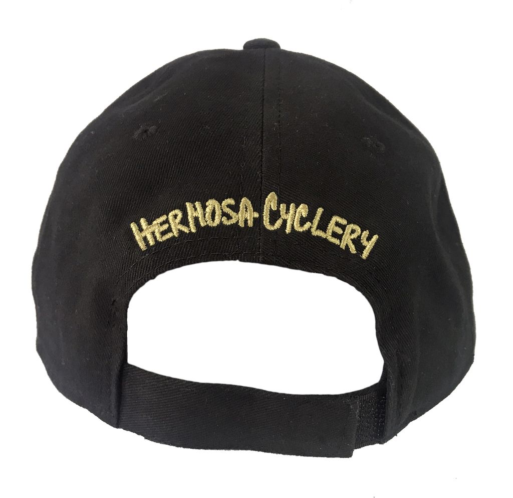 Hermosa Cyclery Hermosa Cyclery - Bike Logo, Structured Mid-Profile Black Hat Style 256