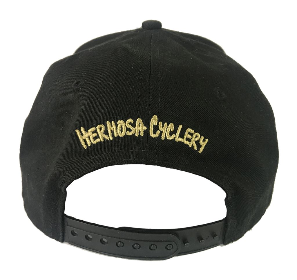 Hermosa Cyclery Hermosa Cyclery - Bike Logo, Structured High-Profile Black/Red Hat Style 357