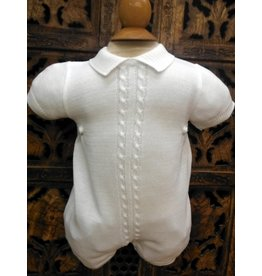 #874329 Boys White Knit Romper