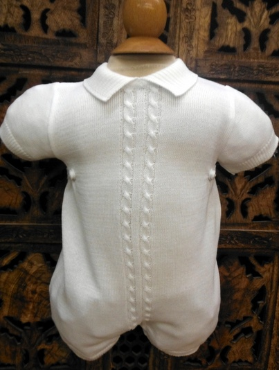 #874329 Boys White Knit Romper