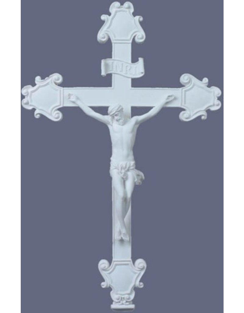 """Crucifix in simple white 16.5"""""""