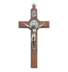 "8"" WALNUT ST. BENEDICT CRUCIFIX (w/ gift box)"