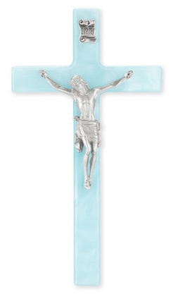 "7"" Pearlized Blue Cross with Fine Pewter Corpus"