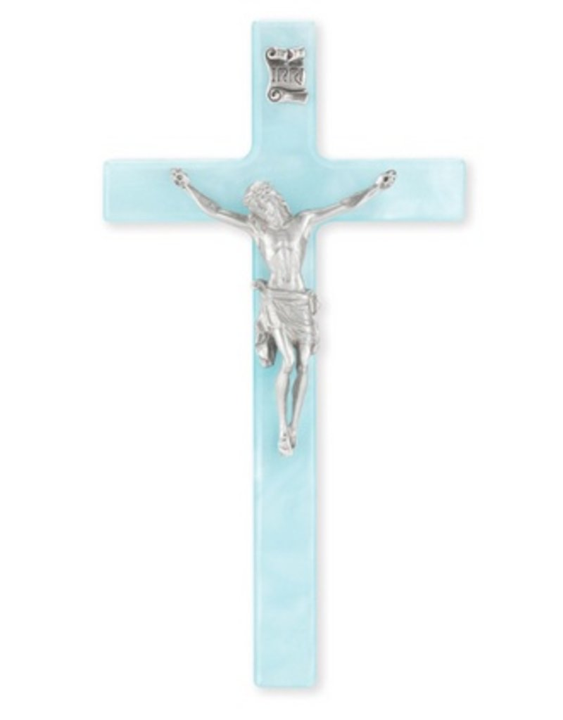 "William J. Hirten Co., LLC 7"" Pearlized Blue Cross with Fine Pewter Corpus"