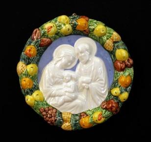 "Holy Family Della Robbia, Hand-Painted Ceramic, 6"""