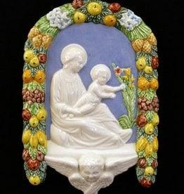 "Madonna and Child Della Robbia, Hand-Painted Ceramic, 6x10"""