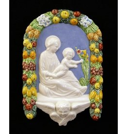 Madonna and Child Della Robbia, Hand-Painted Ceramic, 6x10""