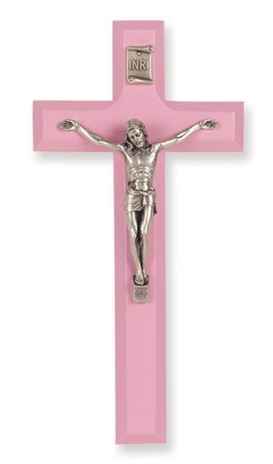 "7"" PINK WOOD CROSS WITH ANTIQUE SILVER PLATED CORPUS"