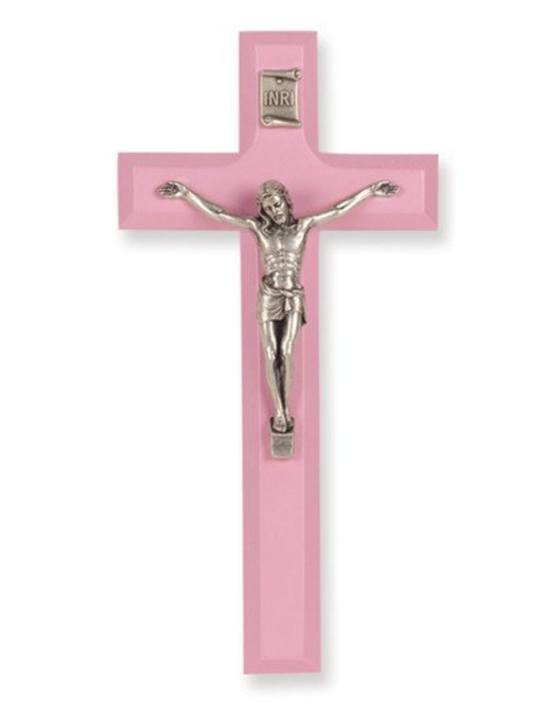"William J. Hirten Co., LLC 7"" PINK WOOD CROSS WITH ANTIQUE SILVER PLATED CORPUS"