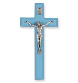 "William J. Hirten Co., LLC 7"" BLUE WOOD CROSS WITH ANTIQUE SILVER PLATED CORPUS"