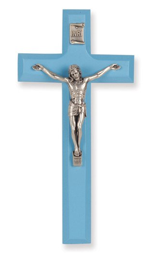 "7"" BLUE WOOD CROSS WITH ANTIQUE SILVER PLATED CORPUS"
