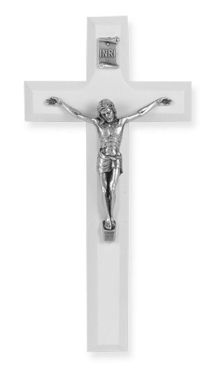 """7"""" WHITE WOOD CROSS WITH ANTIQUE SILVER PLATED CORPUS"""