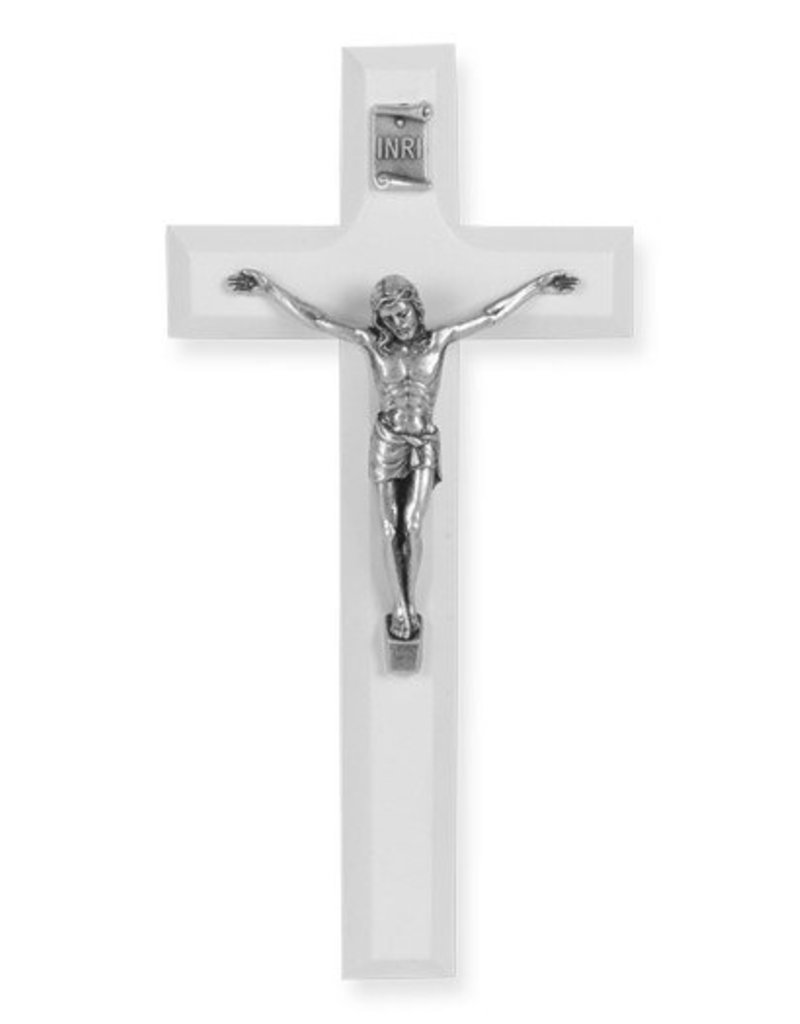 """William J. Hirten Co., LLC 7"""" WHITE WOOD CROSS WITH ANTIQUE SILVER PLATED CORPUS"""