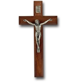 """7"""" WALNUT CROSS WITH ANTIQUE SILVER PLATED CORPUS"""