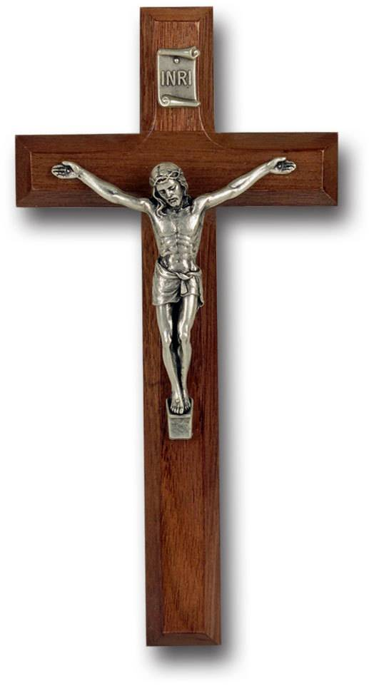 "7"" WALNUT CROSS WITH ANTIQUE SILVER PLATED CORPUS"