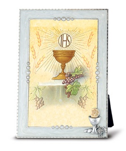 Silver Plated Pearlized Communion Photo Frame