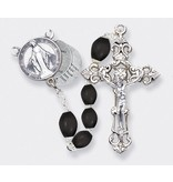 BLACK WOOD BEAD ROSARY WITH 20 MYSTERIES CENTER PIECE
