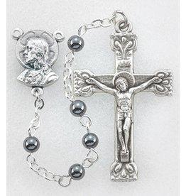 """William J. Hirten Co., LLC 4mm Genuine Hematite Rosary, 17"""""""