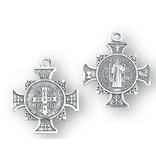 """1"""" Sterling Silver St. Benedict Cross Medal with 18"""" chain"""