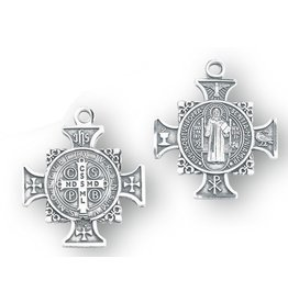 "HMH Religious Mfg 1"" Sterling Silver St. Benedict Cross Medal with 18"" chain"