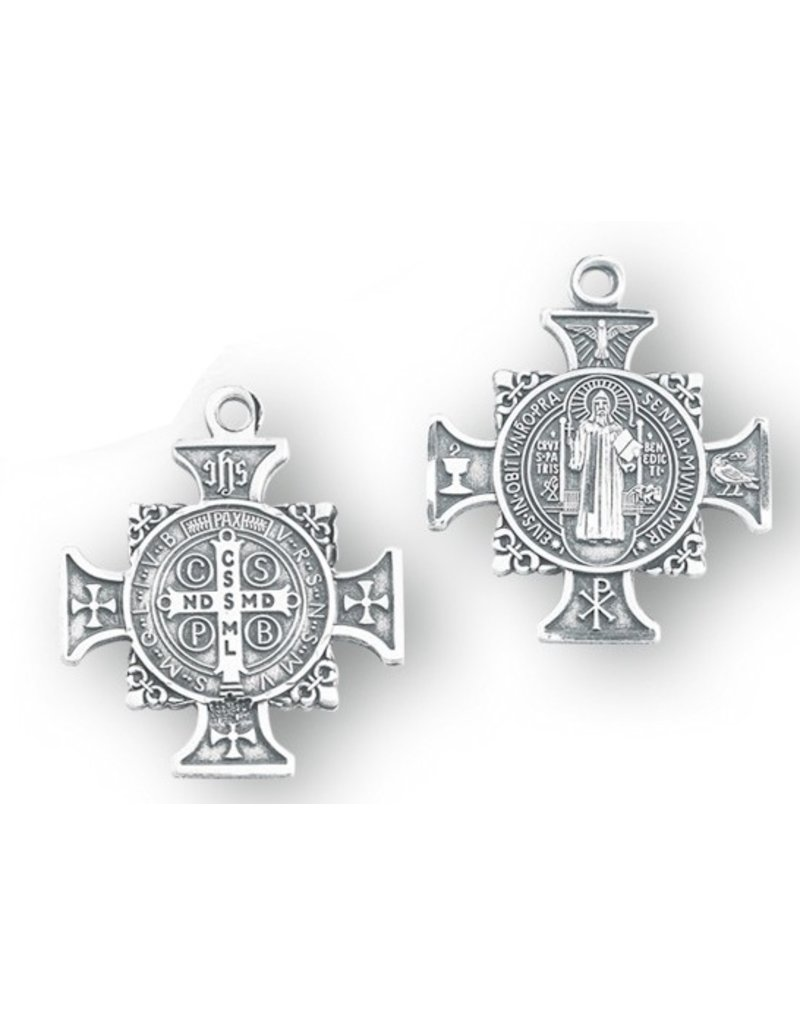 """HMH Religious Mfg 1"""" Sterling Silver St. Benedict Cross Medal with 18"""" chain"""