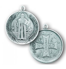 """HMH Religious Mfg 7/8"""" Sterling Silver St. Benedict Medal with 24"""" Chain"""