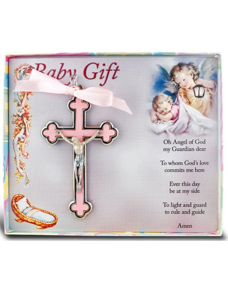 William J. Hirten Co., LLC PINK NICKEL BOUND BABY CRUCIFIX