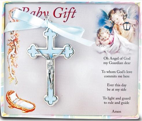 BLUE NICKEL BOUND BABY CRUCIFIX