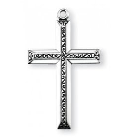 "1 1/4"" Sterling Silver Cross with Black Enamel, 20"" Chain"