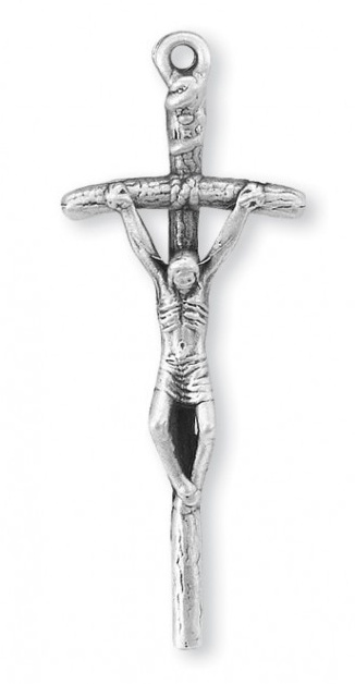 "1 13/16"" Sterling Silver Papal Crucifix"