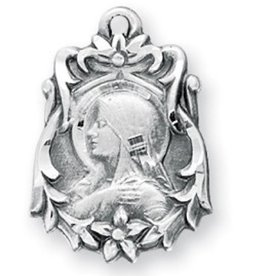 """HMH Religious Mfg 13/16"""" Sterling Silver Our Lady of Sorrows Medal with an 18"""" Chain"""