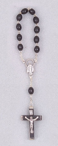 One Decade Black Wood Bead Rosary (Carded)