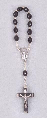 William J. Hirten Co., LLC One Decade Black Wood Bead Rosary (Carded)