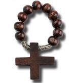 William J. Hirten Co., LLC Dark Brown Wood Rosary Ring w/ Prayer Card