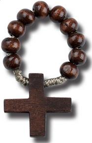 Dark Brown Wood Rosary Ring w/ Prayer Card