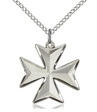 "Sterling Silver Maltese Cross - medium w/ 18"" chain"