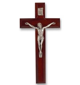 """7"""" Dark Cherry Cross with Antique Silver Plated Corpus (Gift Boxed)"""