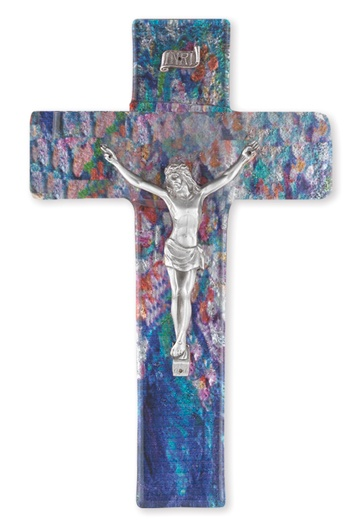 "10"" Sapphire Blue Stained Glass Crucifix"