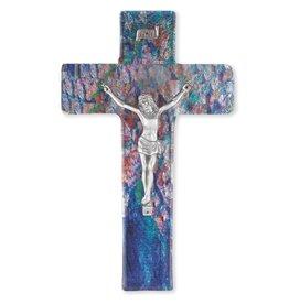 "William J. Hirten Co., LLC 10"" Sapphire Blue Stained Glass Crucifix"