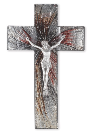 "10"" Shimmering Silver Stained Glass Crucifix"