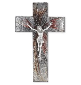 "William J. Hirten Co., LLC 10"" Shimmering Silver Stained Glass Crucifix"